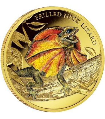 FRILLED NECK LIZARD Remarkable Reptiles 1oz Gold Proof Coin 100$ Niue 2014