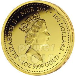 FRILLED NECK LIZARD Remarkable Reptiles 1oz Oro Proof Moneda 100$ Niue 2014