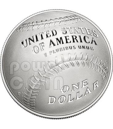 NATIONAL BASEBALL Hall of Fame Proof Moneta Argento 1$ Dollar US Mint 2014