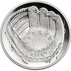 NATIONAL BASEBALL Hall of Fame Proof Moneda Plata 1$ Dollar USA 2014