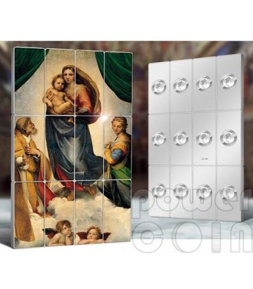 MADONNA SISTINA Raffaello Giants of Art Set 12 Monete Argento 5$ Niue 2014