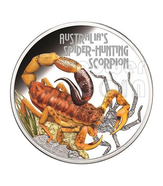 SPIDER HUNTING SCORPION Australia Deadly Dangerous Moneta Argento 1$ Tuvalu 2014