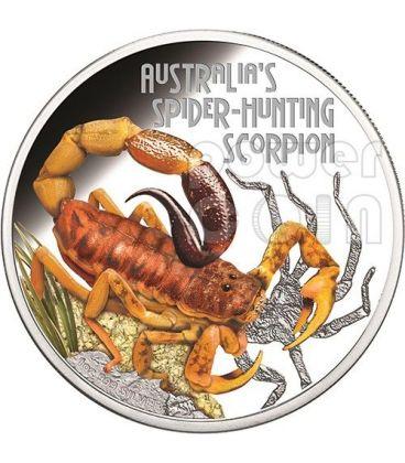 SPIDER HUNTING SCORPION Australia Deadly Dangerous Silver Coin 1$ Tuvalu 2014