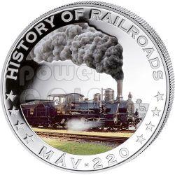 MAV 220 History Of Railroads Train Серебро Монета 5$ Либерия 2011