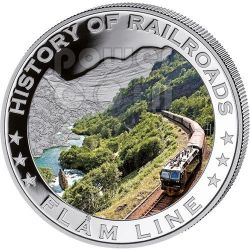 FLAM LINE History Of Railroads Train Silber Münze 5$ Liberia 2011