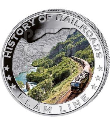FLAM LINE History Of Railroads Train Silver Coin 5$ Liberia 2011