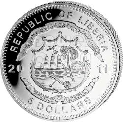 FLAM LINE History Of Railroads Train Moneda Plata 5$ Liberia 2011