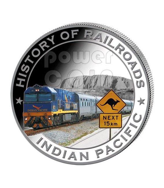 INDIAN PACIFIC Treno Ferrovia Moneta Argento 5$ Liberia 2011