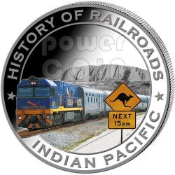 INDIAN PACIFIC History Of Railroads Train Silver Coin 5$ Liberia 2011