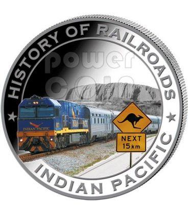 INDIAN PACIFIC History Of Railroads Train Silver Coin 5$ Liberia 2011