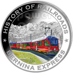 BERNINA EXPRESS History Of Railroads Train Silber Münze 5$ Liberia 2011