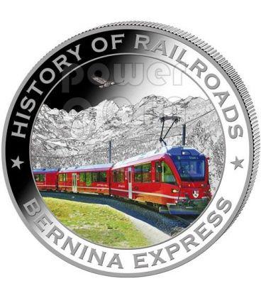 BERNINA EXPRESS Treno Ferrovia Moneta Argento 5$ Liberia 2011