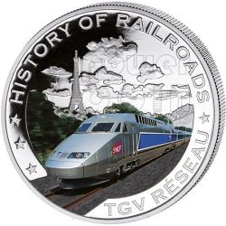 TGV RESEAU History Of Railroads Train Silber Münze 5$ Liberia 2011