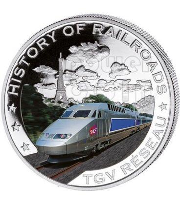 TGV RESEAU Treno Ferrovia Moneta Argento 5$ Liberia 2011