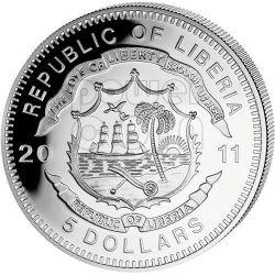 TGV RESEAU History Of Railroads Train Серебро Монета 5$ Либерия 2011