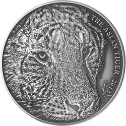 TIGRE ASIATICA Asian Tiger Moneta Argento 5 Oz 5$ Tokelau 2013