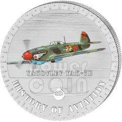 YAKOVLEV YAK-7B History Of Aviation Airplane Fighter Aircraft Серебро Монета 5000 Франков Бурунди 2014