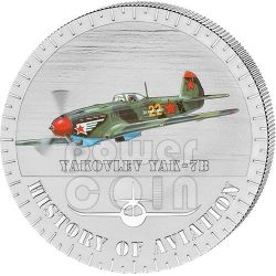 YAKOVLEV YAK-7B History Of Aviation Airplane Fighter Aircraft Silber Münze 5000 Francs Burundi 2014