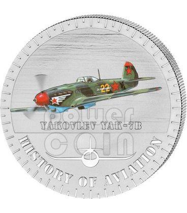 YAKOVLEV YAK-7B Storia Aviazione Aeroplano Caccia Moneta Argento 5000 Franchi Burundi 2014