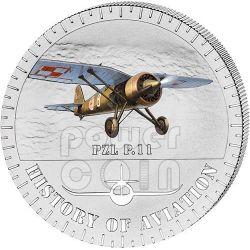 PZL P.11 History Of Aviation Airplane Fighter Aircraft Серебро Монета 5000 Франков Бурунди 2014
