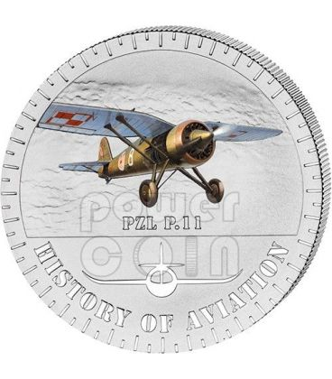 PZL P.11 History Of Aviation Airplane Fighter Aircraft Silver Coin 5000 Francs Burundi 2014