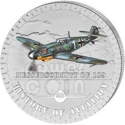 MESSERSCHMITT BF 109 History Of Aviation Airplane Fighter Aircraft Moneda Plata 5000 Francs Burundi 2014