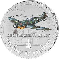 MESSERSCHMITT BF 109 Storia Aviazione Aeroplano Caccia Moneta Argento 5000 Franchi Burundi 2014