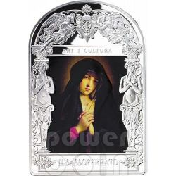 MADONNA IN SORROW Il Sassoferrato Madonna in Art Серебро Монета 15D Андора 2014