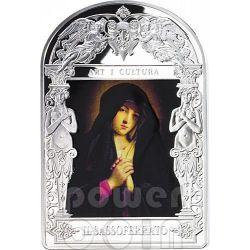 MADONNA IN SORROW Il Sassoferrato Madonna in Art Silver Coin 15D Andorra 2014