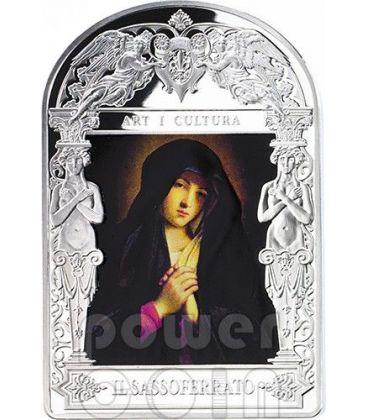 MADONNA IN SORROW Il Sassoferrato Madonna in Art Moneta Argento 15D Andorra 2014