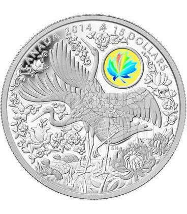 MAPLE OF LONGEVITY Hologram Silver Coin 15$ Canada 2014