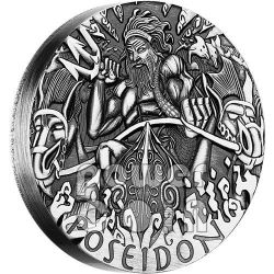 POSEIDON Poseidone Dei Olimpo Gods of Olympus Alti Rilievi Moneta Argento 2 Oz 2$ Tuvalu 2014