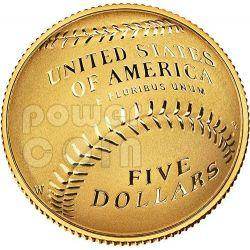 NATIONAL BASEBALL Hall of Fame Proof Gold Münze 5$ Dollar US Mint 2014