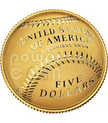NATIONAL BASEBALL Hall of Fame Proof Gold Coin 5$ Dollar US Mint 2014