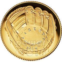 NATIONAL BASEBALL Hall of Fame Proof Moneta Oro 5$ Dollar US Mint 2014
