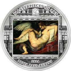 LEDA AND SWAN Cigno Peter Paul Rubens Masterpieces of Art 3 Oz Moneta Argento 20$ Cook Islands 2014