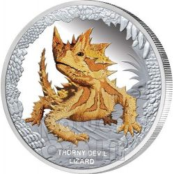 THORNY DEVIL LIZARD Remarkable Reptiles Moloch Silver Proof Coin 1$ Tuvalu 2014