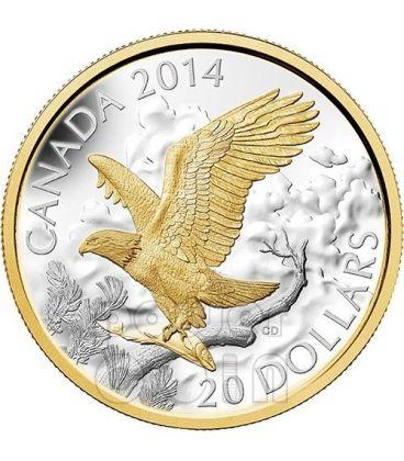 PERCHED BALD EAGLE 1 Oz Silver Coin 20$ Canada 2014