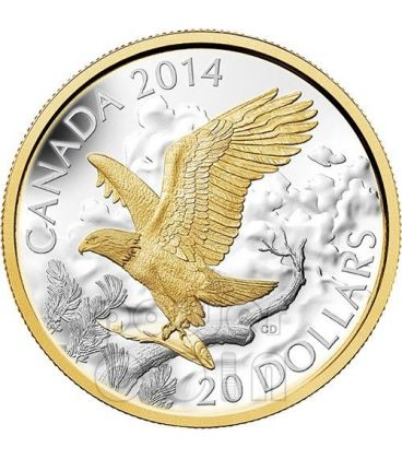 PERCHED BALD EAGLE Aquila Testabianca Moneta Argento 1 Oz 20$ Canada 2014