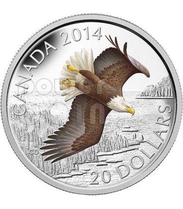 SOARING BALD EAGLE Aquila Testabianca Moneta Argento 1 Oz 20$ Canada 2014