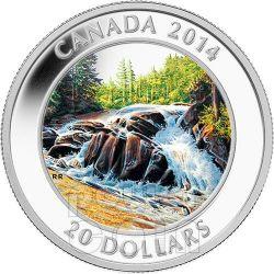 RIVER RAPIDS Algonquin Provincial Park Silver Coin 20$ Canada 2014