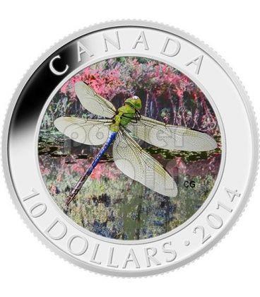 GREEN DARNER Libellula Dragonfly Moneta Argento 10$ Canada 2014