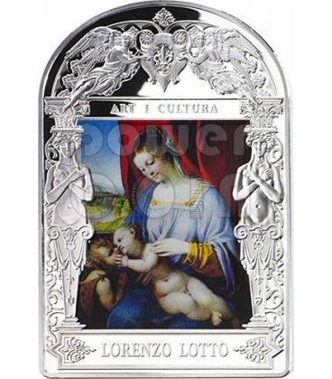 MADONNA COL BAMBINO Lorenzo Lotto Madonna in Art Moneta Argento 15D Andorra 2014