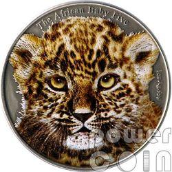 BABY LEOPARD Colored African Baby Five 1 Oz Серебро Монета 5000 Франков Бурунди 2014