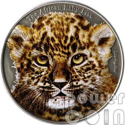 BABY LEOPARD Colored African Baby Five 1 Oz Silber Münze 5000 Francs Burundi 2014