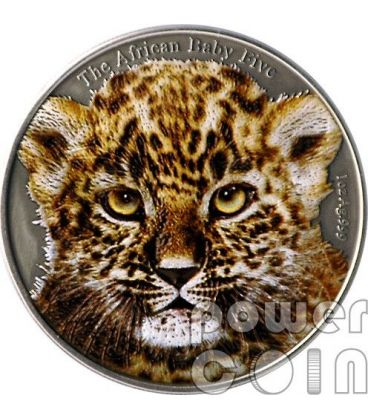 BABY LEOPARD Colored African Baby Five 1 Oz Silver Coin 5000 Francs Burundi 2014