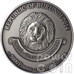 BABY LEOPARDO AFRICANO Colorato Leopard African Baby Five Moneta Argento 1 Oz 5000 Franchi Burundi 2014