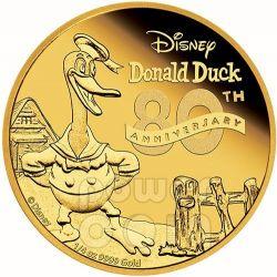 DONALD DUCK Paperino 80 Anniversario Disney 1/4 Oz Moneta Oro 25$ Niue 2014