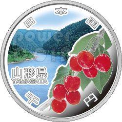 YAMAGATA 47 Prefectures (34) Silber Proof Münze 1000 Yen Japan 2014