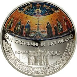 MOSAICO SAN GIOVANNI IN LATERANO Abside Moneta Convessa Argento 5$ Cook Islands 2014